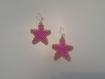 Boucles d'oreilles en perles étoiles rose et or