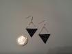 Boucles d'oreilles en argent, tissage miyuki noir et blanc