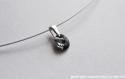 Swarovski pendentif cristal rond noir gris / argent 925