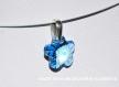 Swarovski pendentif cristal fleur bleu  / argent 925