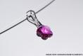 Swarovski pendentif  cristal fleur fuchsia  / argent 925