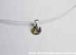 Swarovski pendentif cristal rond vert violet  / argent 925