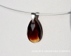 Swarovski pendentif cristal amande ambre / argent 925