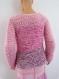 Pull laine rose épais au tricot fait main taille 38/40