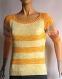Pull tricot fait maison cousu main, jaune rayé en coton manches