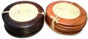 Dessous de verre en raphia et bois de palissandre de madagascar
