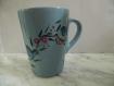 Mug bleu fleurs et oiseau