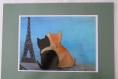 Set de table chats amoureux devant la tour eiffel bord vert amande