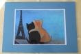 Set de table chats amoureux devant la tour eiffel bord bleu clair