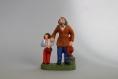 Santon en terre cuite :grand-père et son petit fils