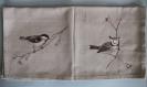 Lot de 4 serviettes de table mésanges avec ronds de serviette