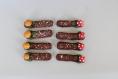 Lot de 8 portes couteaux bûches de noël avec champignons  saupoudrées de neige