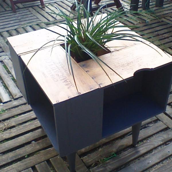 Table basse caisse de vin : meubles par crearecupbois