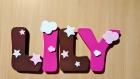 Lettre pour prénom enfant en bois dans le thème étoiles nuages