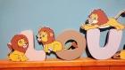 Lettres prénom petit lion en bois