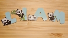 Lettres prénom enfant panda en bois artisanales