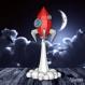 Projet diy papercraft: sculpture de la fusée qui décolle