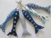 Poissons tissus, petit modèle tonalité de bleu - vendu a l'unite