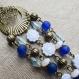 N°2 - boucles d'oreilles longues bronze, bleu et blanc - perles acryliques et perles de verre