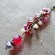 N°26 rose & rouge - boucles d'oreilles longues, cascade de perles facettées rouge, rose et écru
