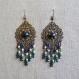 N°37 - boucles d'oreilles longues bleu nuit et turquoise sur estampe filigranée bronze