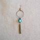 N°48 - fines boucles d'oreille créoles bronze et bleu turquoise
