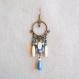 N°49 - boucles d'oreilles créoles longues bleu, écru et bronze