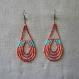 N°63 corail et turquoise - boucles d'oreilles longues avec rangées de perles de rocaille