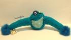 Hugmonster bleu (le monstre à câlins) crocheté