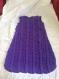 Turbulette blanche et violette tricotée main