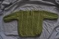 Pull irlandais vert olive tricoté main, pour bébé taille 12 mois