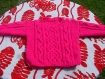 Pull irlandais rose tricoté main, taille 3 mois
