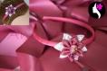 Serre tete à fleur satin magenta et blanche reine des neiges (ref n-51-a)