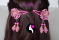 Lot de 2 barrettes à fleur satin avec pendentifs (ref g-33) - différents modèles au choix