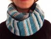 03. Écharpe fermée rayée bleue, beige (snood)