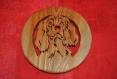 Dessous de plat ou décoration  epagneul en bois de mélèze massif
