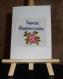 Carte brodée - joyeux anniversaire avec une rose