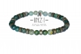 Bracelet unisexe en agate verte, pyrite et jaspe  6mm inz-i - modèle christo