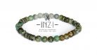 Bracelet unisexe en jaspe turquoise africaine 6 mm inz-i - modèle jeff