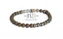 Bracelet homme en bronzite mat, pyrite et hématite 6 mm inz-i - modèle clément
