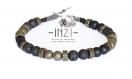 Bracelet homme en onyx, pierre de lave et pyrite 6 mm inz-i - modèle oliver