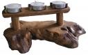 Bougeoir rustique en bois traité avec 2 bougies