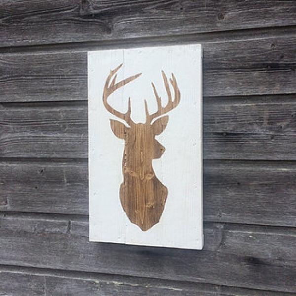 Tableau Déco En Bois Tête De Cerf Peinture Sur Bois 48cm X