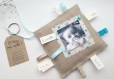 Le doudou étiquette n 12 - faire-part original naissance ou baptême en tissu pour garçon