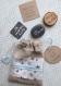 Petit sac lin et naturel n 6 - lot de 10 faire-part naissance ou baptême tissu