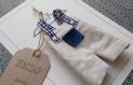 La petite salopette n 17 - faire part original naissance ou baptême garçon en tissu