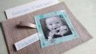 Coucou , c est moi ! n 4 -- faire part naissance ou baptême en tissu -- pochette lin et photo