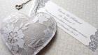 100% coeur n3, faire part mariage romantique en lin et dentelle - collection bohème