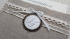 Invitation romantique n 5 -  faire part mariage pochette lin et cabochon bronze