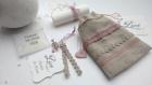 Petit sac du bonheur n 4 - lot de 10 faire-part de mariage en lin et dentelle -  faire part bohême, champêtre, romantique